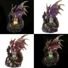 Crystal Castle Collectable LED Dragon Figurine Our fantasy and gothic dragon…