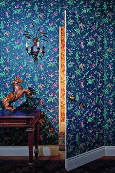 Cole and Son Hummingbird Wallpaper Indigo Wallpaper Door, Print Wallpaper, Colorful Wallpaper, Wallpaper Designs, Hummingbird Wallpaper, Tableaux D'inspiration, Cole Son, Cole And Son Wallpaper, Casamance