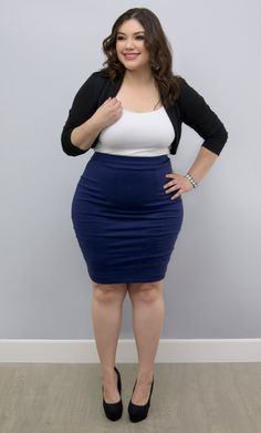 Want a classic pencil skirt in a rich color?  Our plus size Priscilla Pencil Skirt is on sale and perfect for you!  Explore more made in the USA fashion at great prices at www.kiyonna.com.  #KiyonnaPlusYou