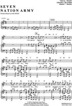 Seven Nation Army (Klavier + Gesang) White Stripes [PDF Noten] >>> KLICK auf die Noten um Reinzuhören <<< Noten und Playback zum Download für verschiedene Instrumente bei notendownload Blockflöte, Querflöte, Gesang, Keyboard, Klavier, Klarinette, Saxophon, Trompete, Posaune, Violine, Violoncello, E-Bass, und andere ...