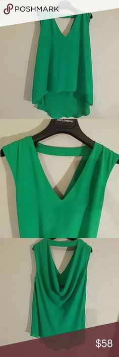 BGBG Reversable blouse.. Flowing green silk blend Reversable blouse...looks great on the shoulders and hides tummy BCBG Tops Blouses