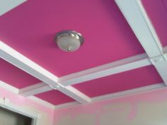coiffured ceiling in kid s room, bedroom ideas, paint colors, painting, Painted ceiling with coiffure and standard light