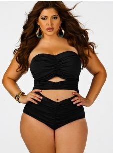 """""""Fiji"""" Sweetheart Ruched Plus Size Swimsuit w/ Removable Strap- Black"""