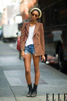 i like those boots. + the blazer too.