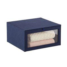 Navy Cambridge Drop-Front Sweater Box Craft Storage Cart, Office Storage, Storage Bins, Pantry Organization, Stacking Bins, Stackable Bins, Farmhouse Storage Boxes, Hanging Drawers, Shoe Drawer