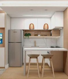 Modern Small Apartment Design, Small Apartment Kitchen, Modern Kitchen Design, Home Decor Kitchen, Small Modern Kitchens, Small Apartments, Diy Kitchen, Home Interior, Kitchen Interior