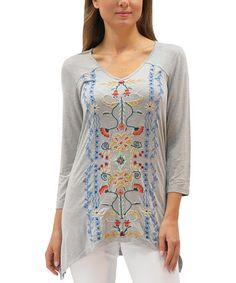 Loving this Heather Gray Embroidered Azura Tunic on #zulily! #zulilyfinds