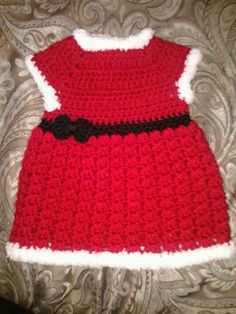 Free+Crochet+Baby+Christmas+Dress | baby girl dresses