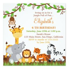 500 Best Jungle Birthday Party Invitations Images In 2019 Animal