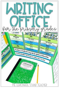 Writing Office for the Primary Grades Kindergarten Writing Activities, Teaching Writing, In Kindergarten, Teaching Resources, Teaching Ideas, Literacy, Writers Workshop Folders, Writing Folders, Writer Workshop