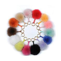 Fur Pom Pom key chains ~ YogaStudio55