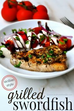 An incredibly easy way to prepare swordfish with tons of flavor! This Sicilian style grilled swordfish recipe is a keeper! One of my favorite, fairly inexpensive seafood dishes is swordfish. Its meaty Rib Recipes, Steak Recipes, Grilling Recipes, Cooking Recipes, Recipies, Fish Dishes, Seafood Dishes, Seafood Recipes, Main Dishes