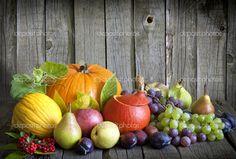 verduras y frutas de temporada otoño Bodegón — Foto stock © udra ...