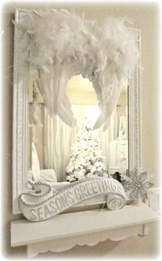 Not So Shabby - Shabby Chic: Christmas Tree Oh Christmas Tree!!! Bebe'!!! Love this beautiful mirror reflecting the tree with an angel wing on either side!!!