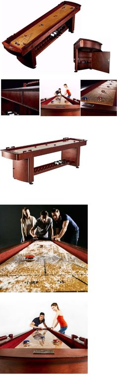 Shuffleboard 79777: 9 Shuffleboard Table Game Room Storage Cabinets Wood  Rec Room With Accessories
