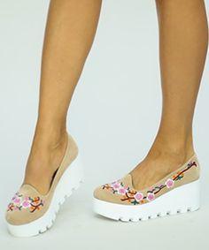 Balerini cu platforma ieftini si broderie Espadrilles, Slip On, Flats, Sneakers, Casual, Shoes, Fashion, Elegant, Embroidery