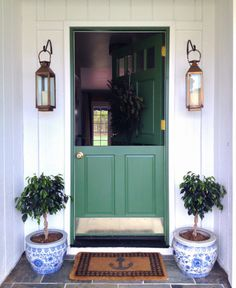 Grace Happens - Green Dutch Door / Front Door, Copper Lights and Blue and White Planters Green Front Doors, Front Door Colors, Porches, White Planters, Elements Of Style, Entry Doors, Barn Doors, My Dream Home, Interior And Exterior