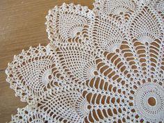 Vintage Cotton Crochet Star Ecru Pineapple Doily by BettyandBabs, $12.00