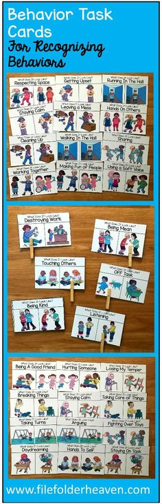 "These Behavior Task Cards: ""What Does It Look Like?"" help students recognize what appropriate and inappropriate behaviors look like. There are 40 task cards included for a total of 40 different behaviors. In a small group, at a work station or center, students look at the card and identify what each behavior looks like by pointing, clipping the card with a paper clip or clothespin or circling the correct answer with a dry erase marker."