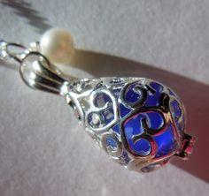 Blue seaglass locket