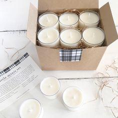 Our little minis set includes 6 mini candles, one in each of the following scents:  - beautiful (mandarin + bergamot) 2 oz.  - blissful (balsam + fir) 2 oz. - grateful (pumpkin + clove) 2 oz. - hopeful (sugar + spice) 2 oz. - joyful (citrus + pine) 2 oz. - peaceful (rosemary + mint) 2 oz.  #fulcandles #giftideas #ecofriendly #soycandles