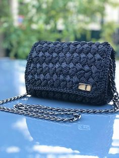 Mini black crochet bag