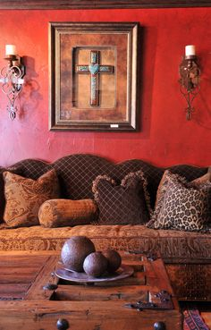 Love the room.Repinning to Wonderous Walls for that red amazing glazed wall.