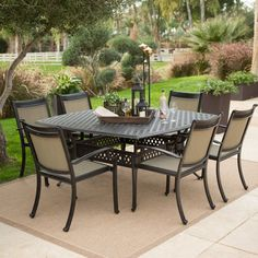 Outdoor Belham Living Palazetto Cast Aluminum Square Patio Dining Set with Sling Chairs - ALH641