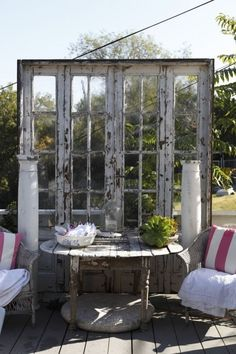 Re-Scape.com Outdoor Living - Re-Scape.com -  				outdoor room from old french doors and pallets