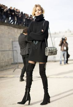 Turtle neck black sweater dress and over the knee boots