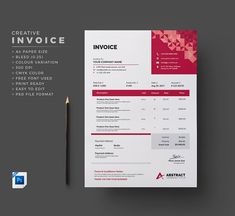 Modern Invoice Template by GenerousArt on creativemarket Invoice Design Template, Stationery Templates, Graphic Design Templates, Business Brochure, Business Card Logo, Questionnaire Template, The Costumer, Social Media Template, Corporate Flyer