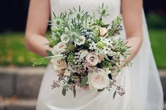 Beautiful Autumn bouquet using blush Quicksand roses, silver thistle, Brunia berries, Veronica and foliages. Photo courtesy of Kathryn Edwards Photography, flowers by Mrs Umbels.
