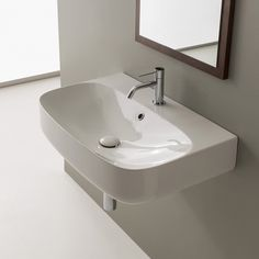 Buy the Nameeks Scarabeo Hole White / One Hole Direct. Shop for the Nameeks Scarabeo Hole White / One Hole Scarabeo Ceramic Bathroom Sink For Wall Mounted Installation - Includes Overflow and save. Wall Mounted Bathroom Sinks, Bathroom Sink Faucets, Bath Vanities, Floating Bathroom Sink, Small Bathroom, Master Bathroom, Bathroom Ideas, Ideal Bathrooms, Modern Bathrooms