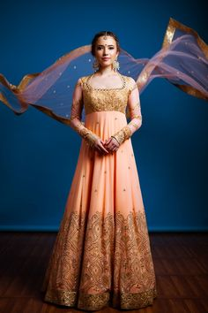 Peach & Gold Anarkali | WedMeGood Peach Floor Length Georgette Anarkali with Golden Intricate Work #wedmegood #anarkali