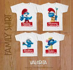 4 Smurfs birthday shirt Birthday family shirt Smurfs