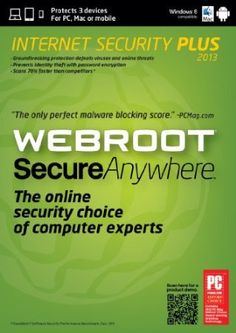 For households who are active online, the risk from online threats while shopping or banking, and the frustration of slow performance and poor manageability are all too familiar. Webroot SecureAnywhere Internet Security Plus is a revolutionary new solution to internet security. It has been proven by computer experts to be faster and more effective against new threats than traditional security products and provides equal or greater protection to products costing significantly more.Price…