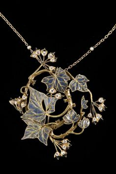Lalique 1900 Brooch: spiral yellow-gold branches/plique-à-jour leaves/ buds of black enamel/ small diamonds | Antique Glass Vintage Art