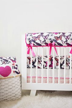 Butterfly Kisses Crib Skirt (We love it like xo!) Exclusive for Project Nursery by Carousel Designs
