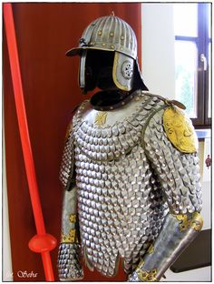 Polish hussar armament with burgonet and scale armor, XVI. Arm Armor, Body Armor, Armour Tattoo, Military Costumes, Armor Clothing, Lobster Tails, Suit Of Armor, Medieval Armor, Alexander The Great