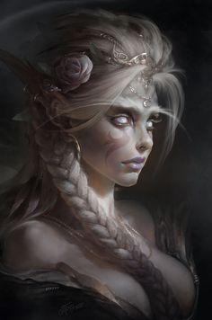 elf portrait painting fantasy art Dmitry Prozorov digital art World of Warcraft Fantasy Girl, Fantasy Women, Elves Fantasy, Fantasy Rpg, Fantasy Art Warrior, Fantasy Witch, Fantasy Princess, New Fantasy, Fantasy Dragon