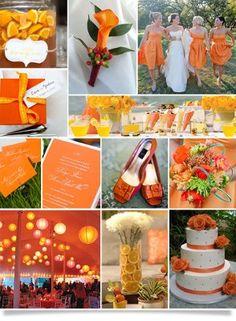 White & Orange Wedding Cake