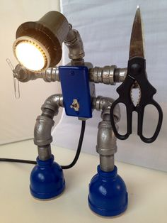 Items similar to Cyclops EcoBoy, an industrial robot lamp on Etsy Pipe Lighting, Industrial Lighting, Vintage Lighting, Cool Lighting, Diy Luz, Industrial Robots, Diy Pipe, I Love Lamp, Steampunk Lamp