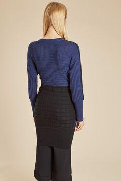 Venda JC de Castelbajac / 26422 / Malha / Casaco de lã Azul-marinho e preto