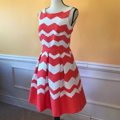 The Limited Dresses & Skirts - The Limited Chevron A-line Red-Orange Pocket Dress