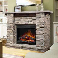 Dimplex Featherston Electric Fireplace And Stone Mantel Stone Fireplace Mantel, Home Fireplace, Fireplace Inserts, Fireplace Surrounds, Fireplace Design, Fireplace Ideas, Stone Fireplaces, Fireplace Console, Country Fireplace