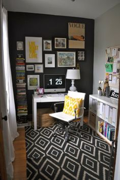 A smaller space can also mean a completely cozy (and inspiring!) place to work. Alaina turns a previously tricky room into a place to be productive.     Rug from West Elm, throw pillow from Fabricadabra, short bookcase from Ikea, narrow bookcase from West Elm, picture frames from the stylist's collection.