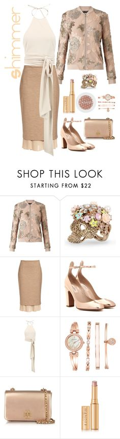 """""""Shimmer"""" by loves-elephants ❤ liked on Polyvore featuring Miss Selfridge, Betsey Johnson, MaxMara, Valentino, Halston Heritage, Anne Klein, Tory Burch and Wander Beauty"""