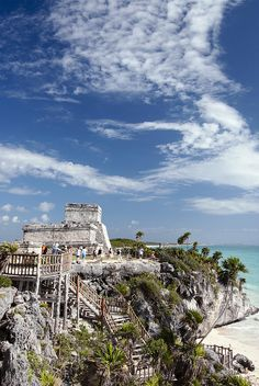 ✮ Mexico, Quintana Roo, Tulum, the Mayan ruins of Tulum, El Castillo (the Castle), stairway leading to the beach