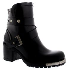 Womens Fly London Lok Casual Biker Mid Block Heels Black Ankle Boots -- Details can be found by clicking on the image. (This is an Amazon affiliate link)