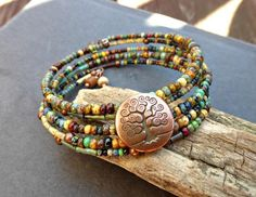 Tree of life copper button with Czech Picasso glass  memory wire bracelet. Wrist wrap jewelry. Copper metal. -  - McKee Jewelry Designs - 1